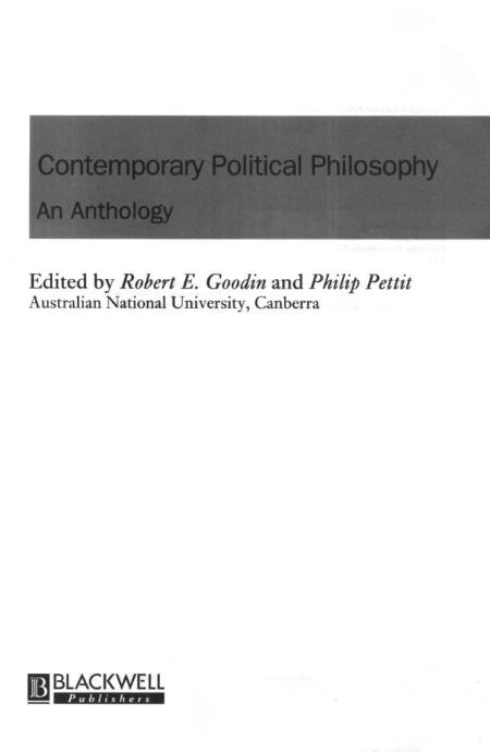 Political Philosophy Contemporary Anthology Blackwell