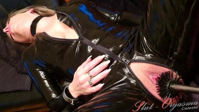 [SlutOrgasma] - Slut Orgasma - Slave Slut-Orgasma Celeste Latex-Catsuit toiled brush fuck (2021 / FullHD 1080p)